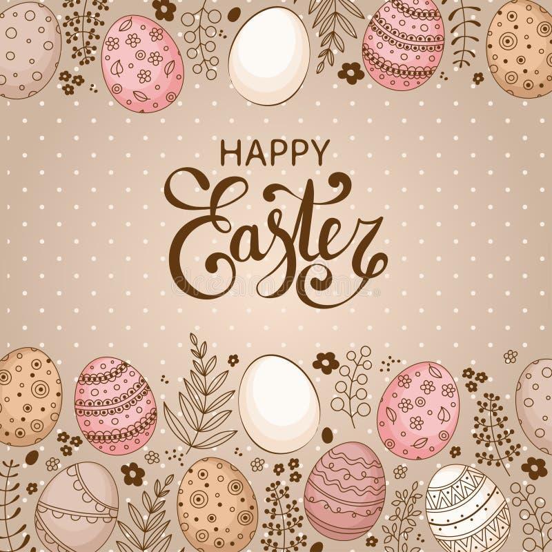 Vector el fondo festivo de Pascua con el marco de huevos coloridos stock de ilustración