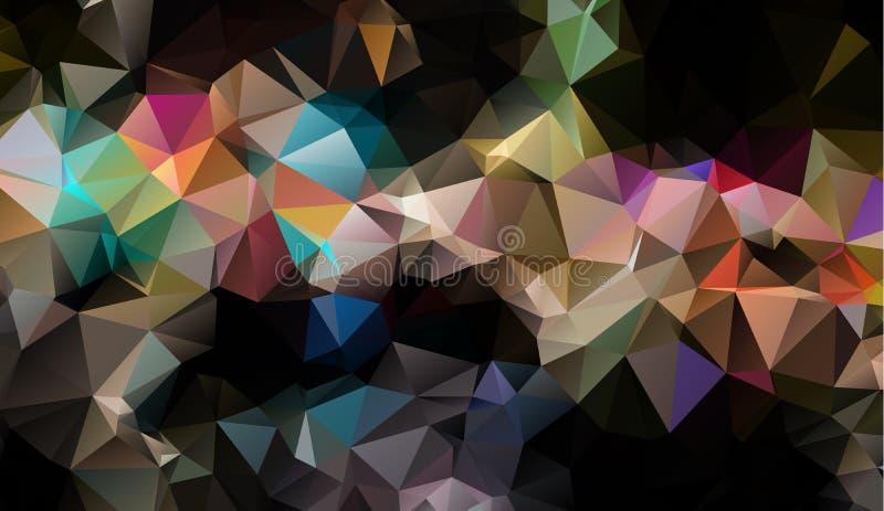 Vector el fondo geométrico poligonal moderno abstracto del triángulo del polígono Fondo geométrico oscuro del triángulo stock de ilustración