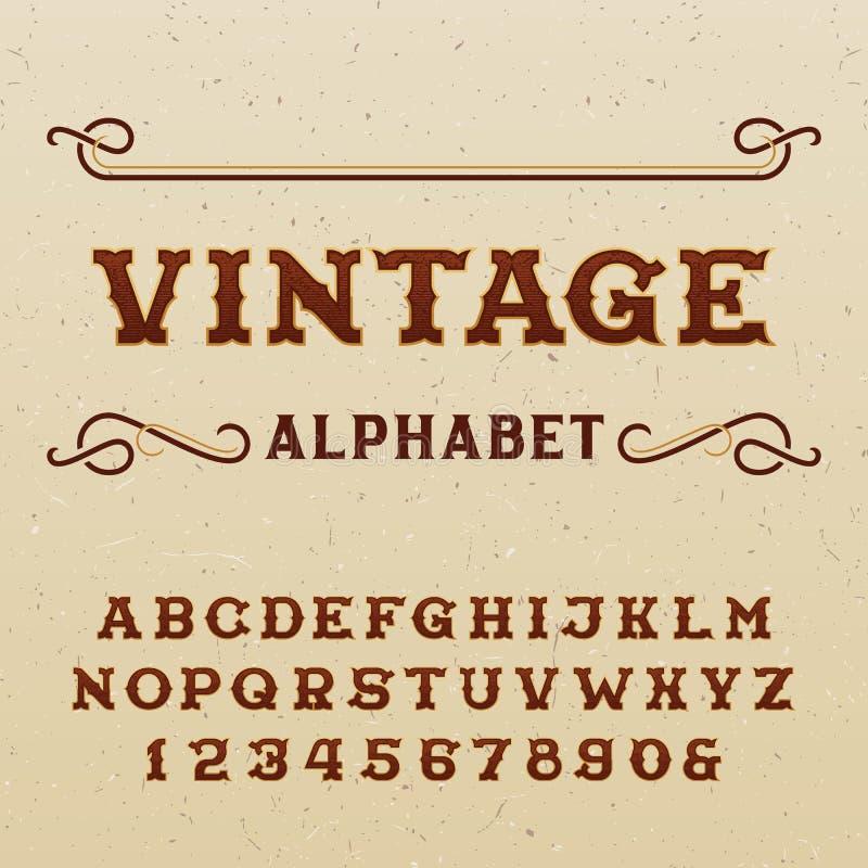 Vector el fondo inconsútil con la fuente de vector del alfabeto del labelVintage del estilo del esquema en estilo occidental libre illustration