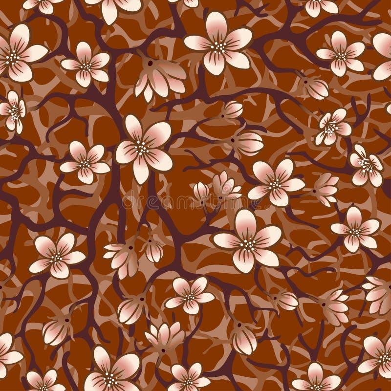 Vector el fondo inconsútil con los flores, los brunches y el follaje de Sakura Ejemplo resumido EPS en sombras del marrón ilustración del vector