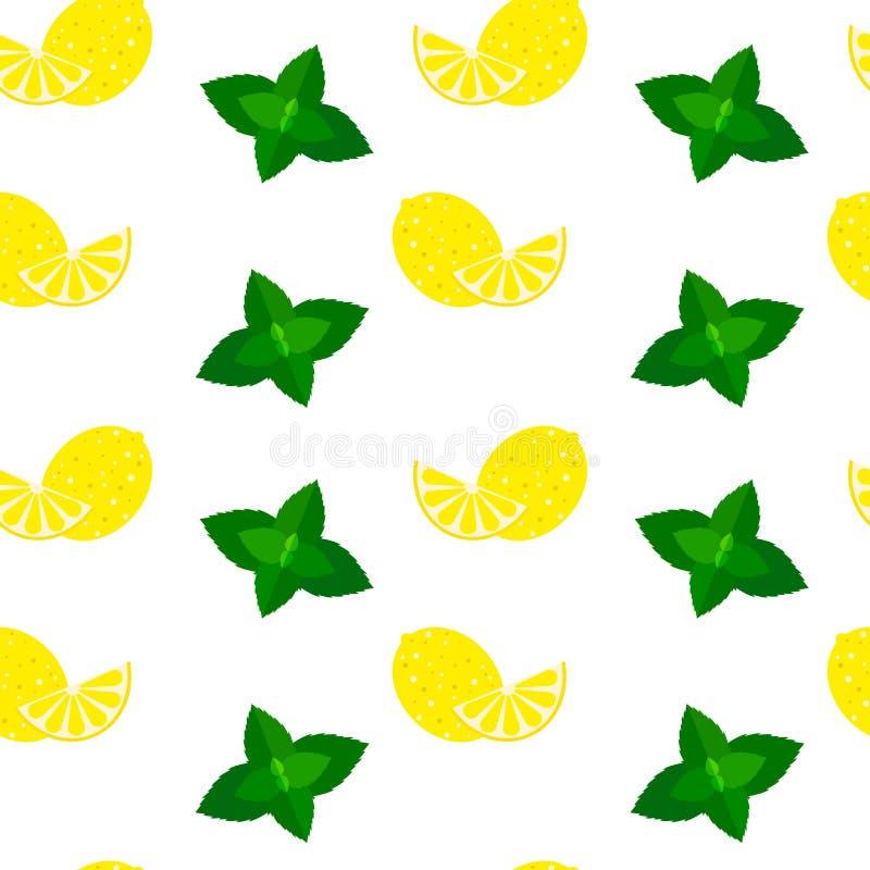 Vector el fondo inconsútil del modelo con la menta y los limones stock de ilustración