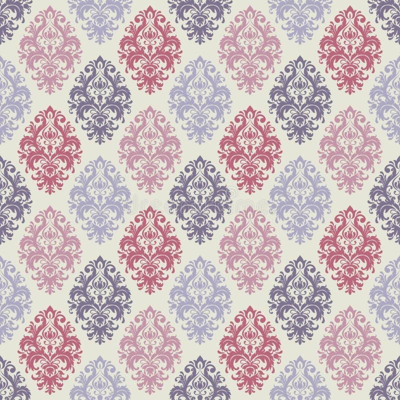 Vector el fondo inconsútil del modelo del damasco Ornamento pasado de moda de lujo clásico del damasco, textura inconsútil del vi stock de ilustración