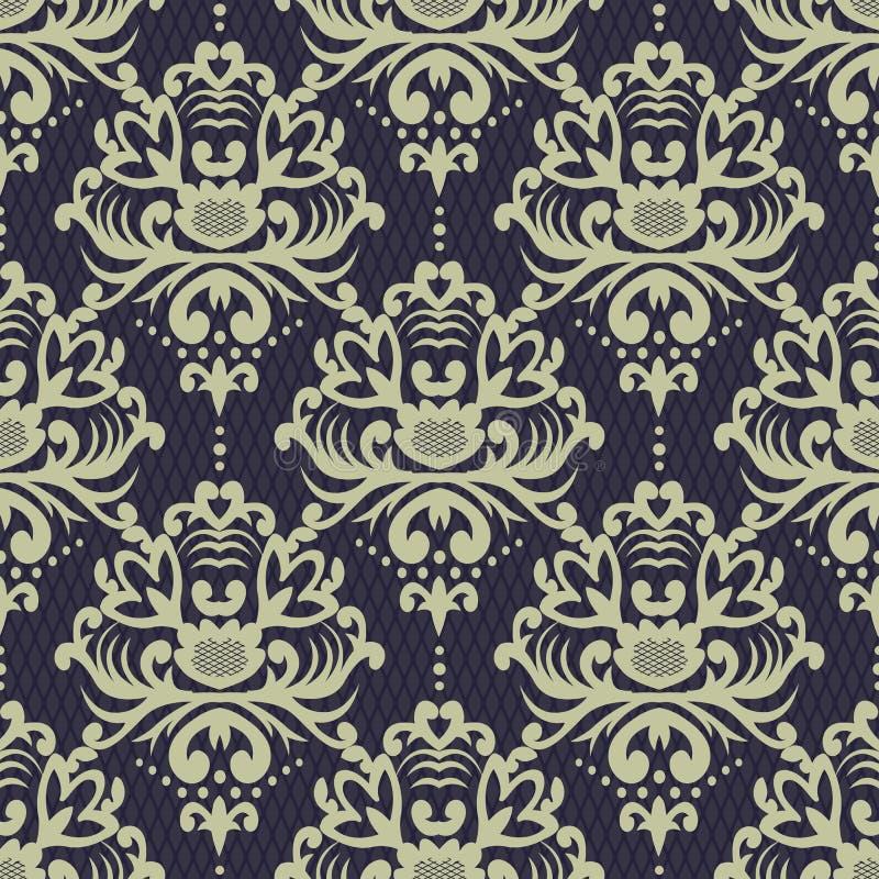 Vector el fondo inconsútil del modelo del damasco Textur de lujo elegante stock de ilustración