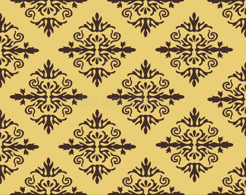 Vector el fondo inconsútil del modelo del damasco La textura de lujo elegante para los papeles pintados, los fondos y la página l stock de ilustración