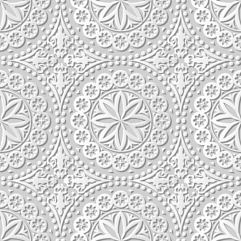 Vector el fondo inconsútil 136 Dot Flower Lace redondo del modelo del arte del papel 3D del damasco ilustración del vector