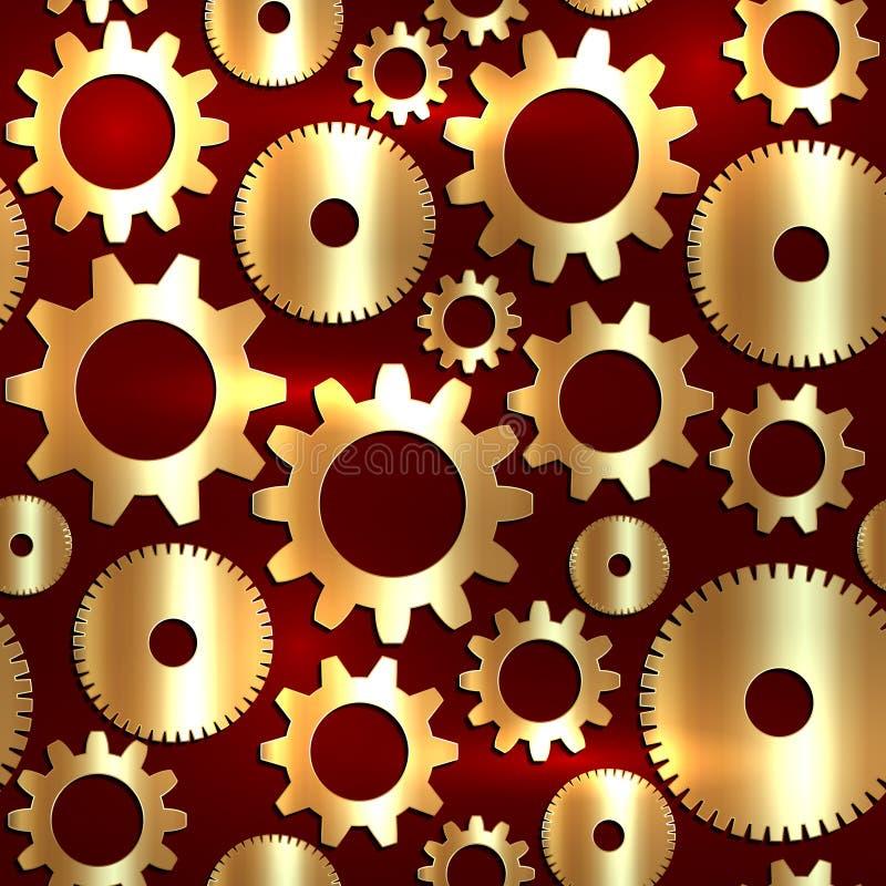 Vector el fondo inconsútil en estilo de la tecnología con los engranajes de oro stock de ilustración