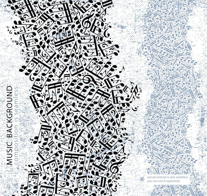 Vector el fondo inconsútil ligero de la música, textura de la lona con el blac libre illustration