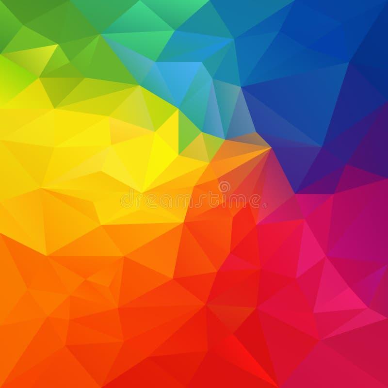 Vector el fondo irregular del polígono con un modelo del triángulo en color colorido vibrante del arco iris del espectro libre illustration