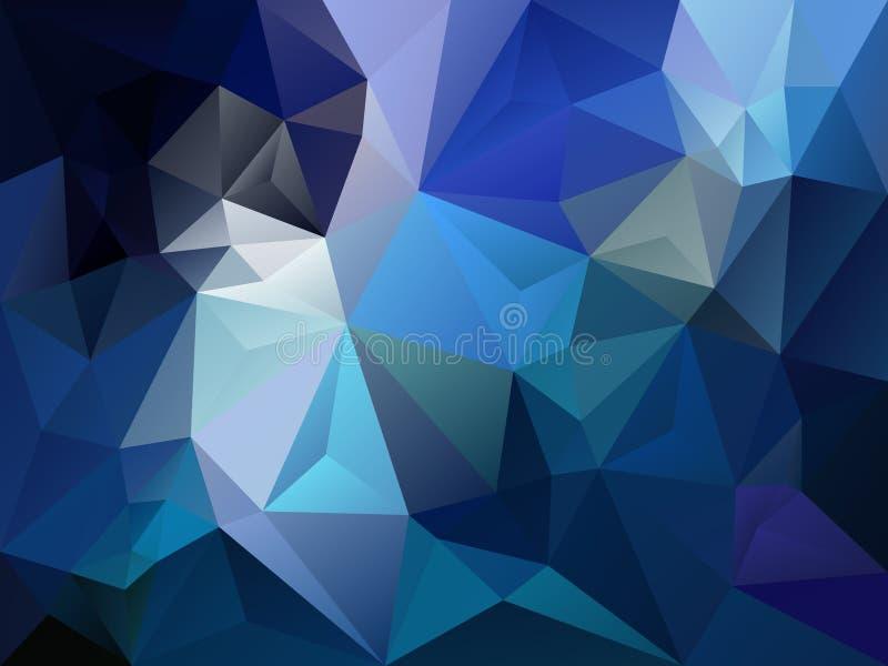 Vector el fondo irregular del polígono con un modelo del triángulo en color del azul del cielo y del zafiro stock de ilustración