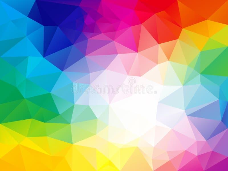 Vector el fondo irregular del polígono con un modelo en arco iris a todo color del espectro - blanco del triángulo en el centro libre illustration