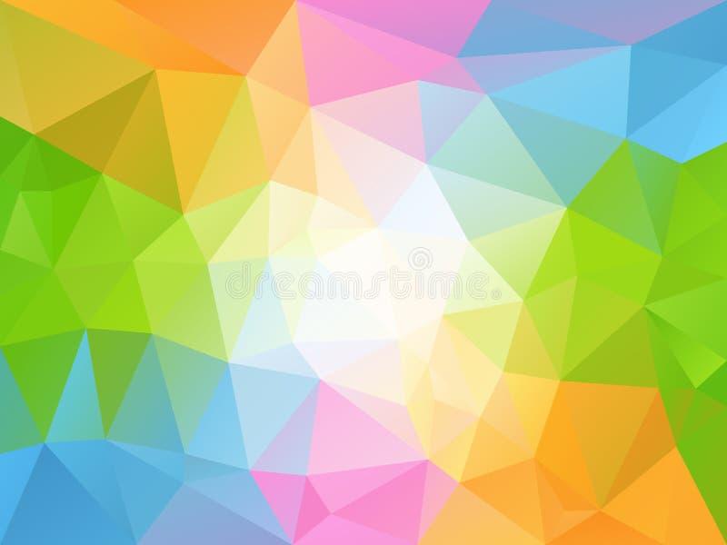 Vector el fondo irregular del polígono con un modelo del triángulo en espectro a todo color de la primavera en colores pastel ilustración del vector
