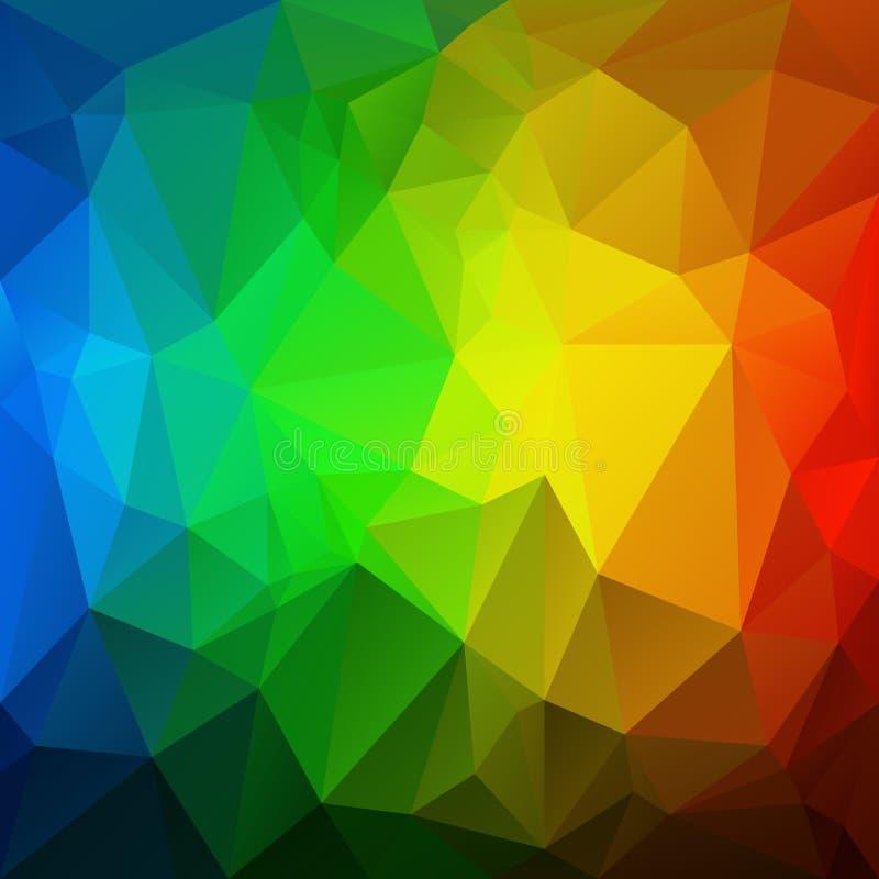 Vector el fondo irregular del polígono con un modelo triangular en colores completos del espectro del arco iris vertical ilustración del vector