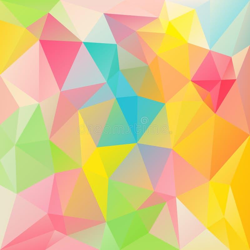 Vector el fondo irregular del polígono con un modelo triangular en colores en colores pastel vibrantes de la primavera - espectro ilustración del vector