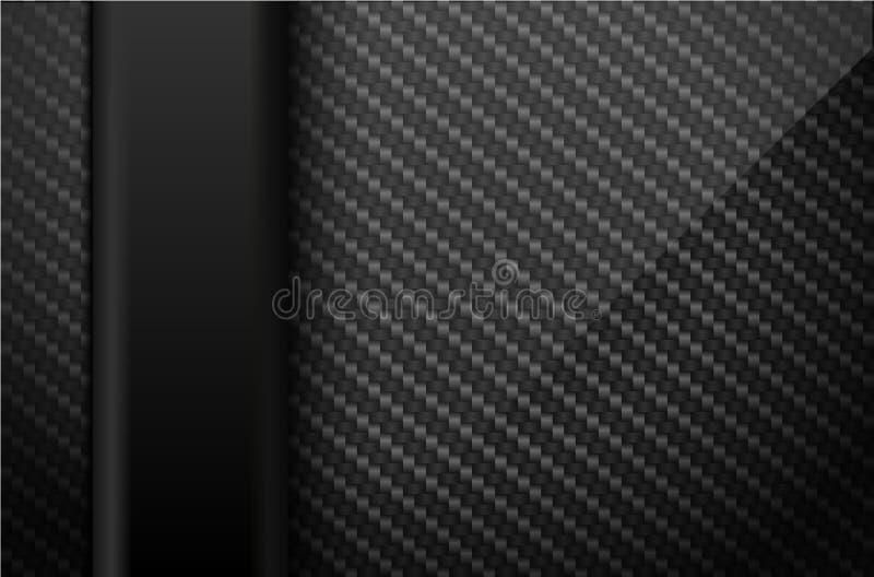 Vector el fondo negro de la fibra de carbono con la línea elemento plástica vertical oscura Ejemplo del diseño industrial stock de ilustración