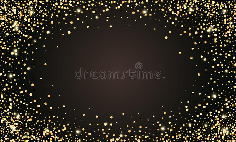 Vector el fondo negro festivo, marco de oro para las invitaciones, aniversario, cumpleaños del confeti que brilla de la celebraci libre illustration