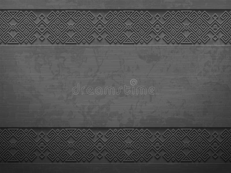 Vector el fondo oscuro áspero del metal del grunge con el modelo escandinavo Planche el estilo geométrico étnico brutal material  stock de ilustración