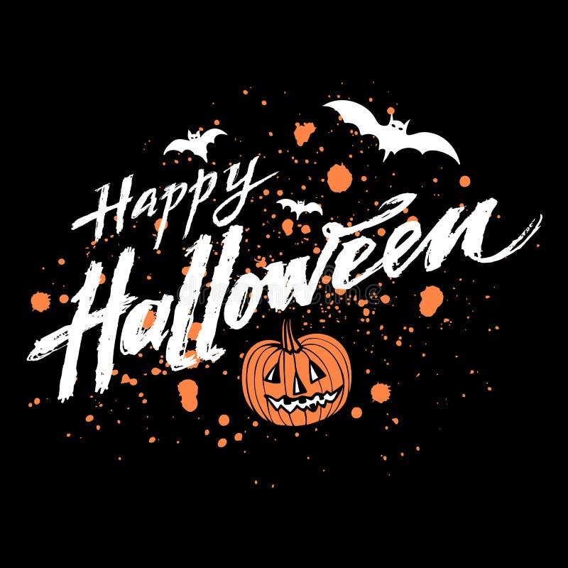 Vector el fondo oscuro del feliz Halloween con las manchas anaranjadas de la calabaza y de sangre, el poner letras dibujado mano  stock de ilustración