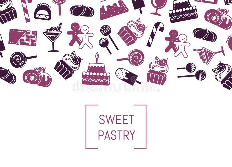 Vector el fondo plano de los iconos de los dulces del estilo con el lugar para el texto libre illustration