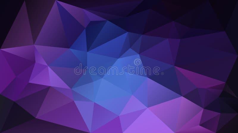 Vector el fondo poligonal irregular - modelo polivinílico bajo del triángulo - color azul de la galaxia y negro púrpura ilustración del vector