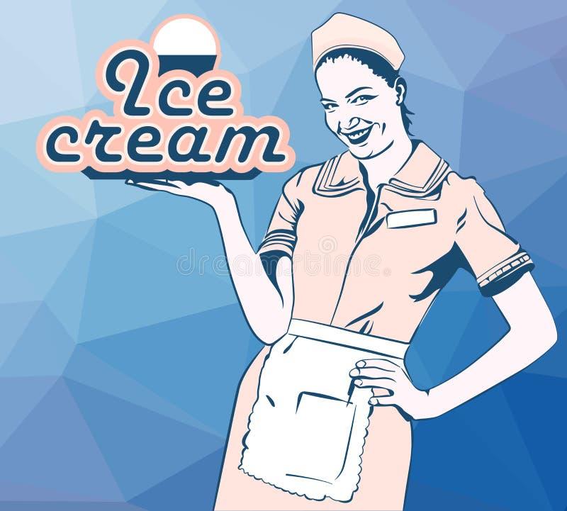 Vector el fondo retro de los polígonos de la camarera del café del helado de la imagen stock de ilustración