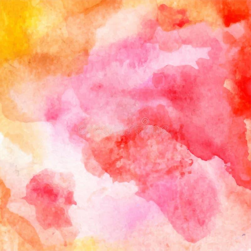 Vector el fondo rojo, anaranjado, amarillo, rosado brillante abstracto de la acuarela para las tarjetas de felicitación del diseñ stock de ilustración