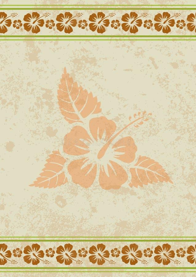Vector el fondo sucio de la hawaiana con la flor tropical del hibisco ilustración del vector