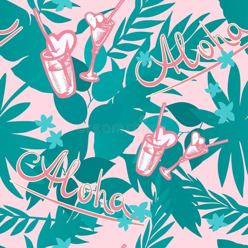Vector el fondo tropical del verano inconsútil con las hojas de palma, las plantas, los cócteles, los corazones y la inscripción  libre illustration