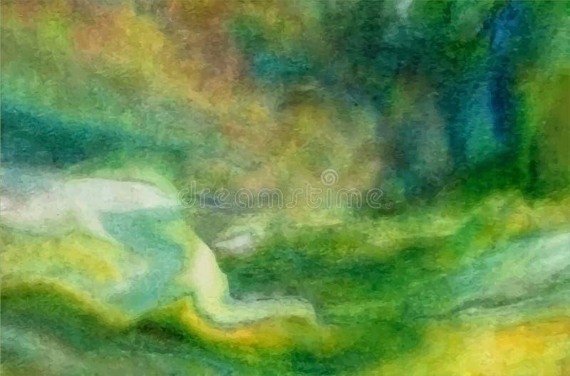 Vector el fondo verde claro, azul, amarillo abstracto de la acuarela para sus tarjetas de felicitación del diseño y las invitacio ilustración del vector