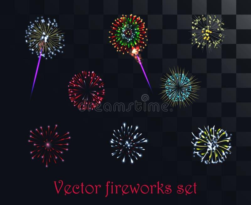 Vector el fuego artificial modelado festivo en el fondo alfa del estilo ilustración del vector