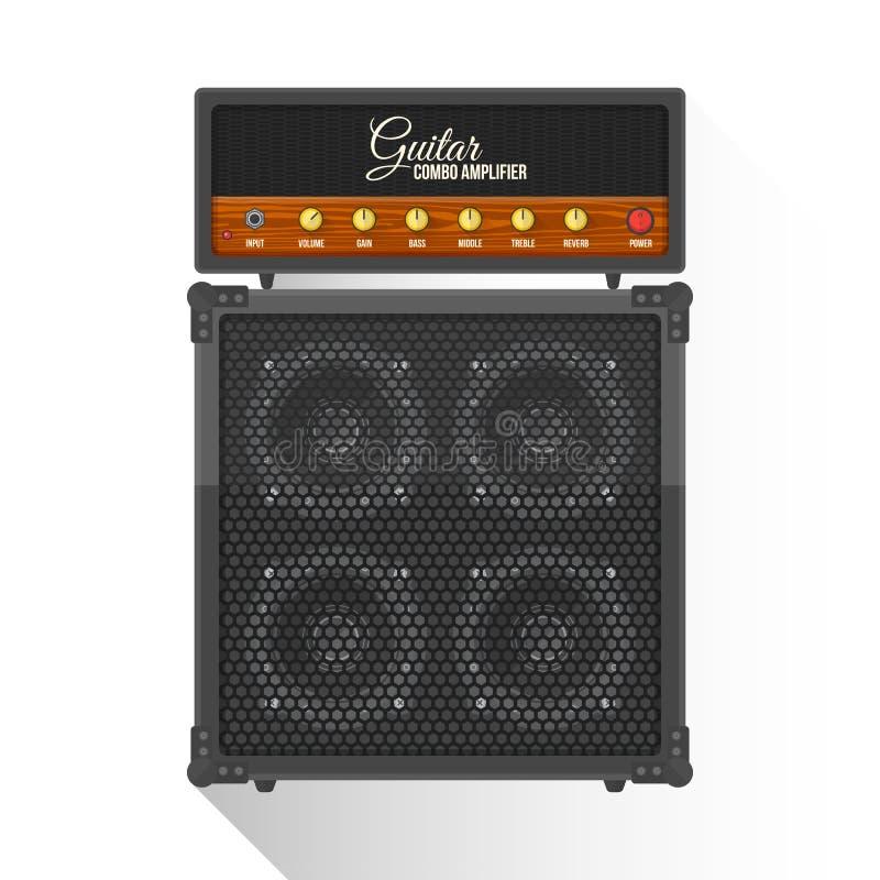 Vector el gabinete combinado plano del amplificador de la guitarra eléctrica del estilo libre illustration