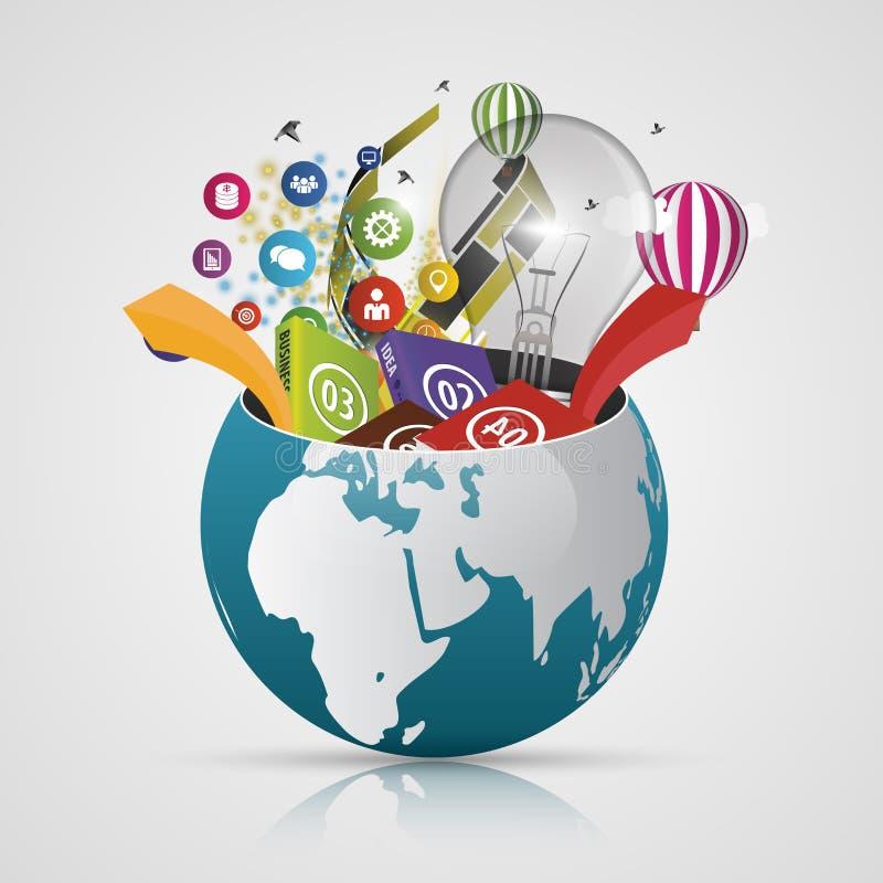 Vector el globo del mundo, mapa creativo 3d de la tierra Elementos modernos Correspondencia de mundo ilustración del vector
