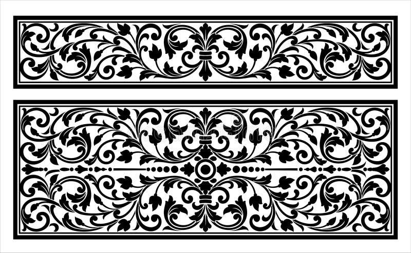Vector el grabado del logotipo del marco de la frontera del vintage con el modelo retro del ornamento en diseño decorativo del es libre illustration
