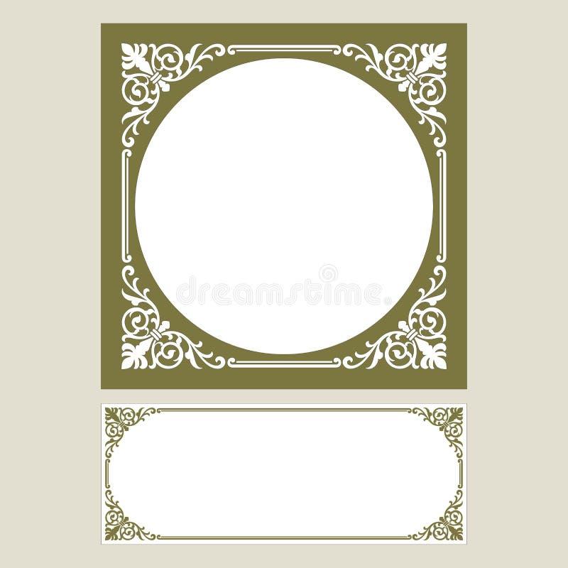 Vector el grabado del logotipo del marco de la frontera del vintage con el modelo retro del ornamento en diseño decorativo del es stock de ilustración