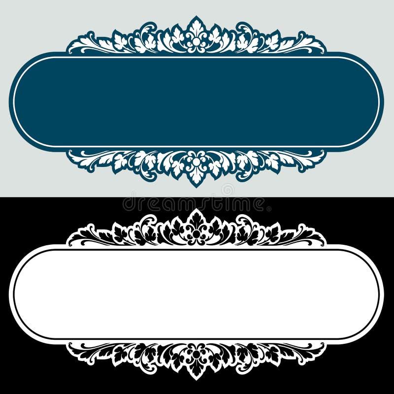 Vector el grabado del marco de la frontera del vintage con vector retro del ornamento stock de ilustración