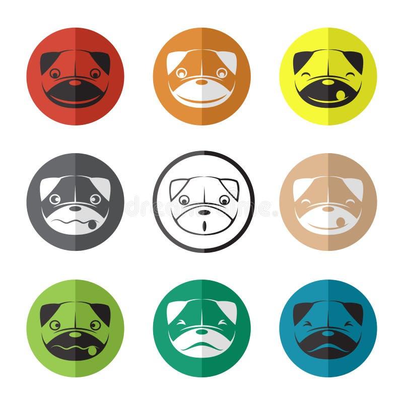 Download Vector El Grupo De Cara Del Perro En El Círculo Ilustración del Vector - Ilustración de icono, feliz: 42437604