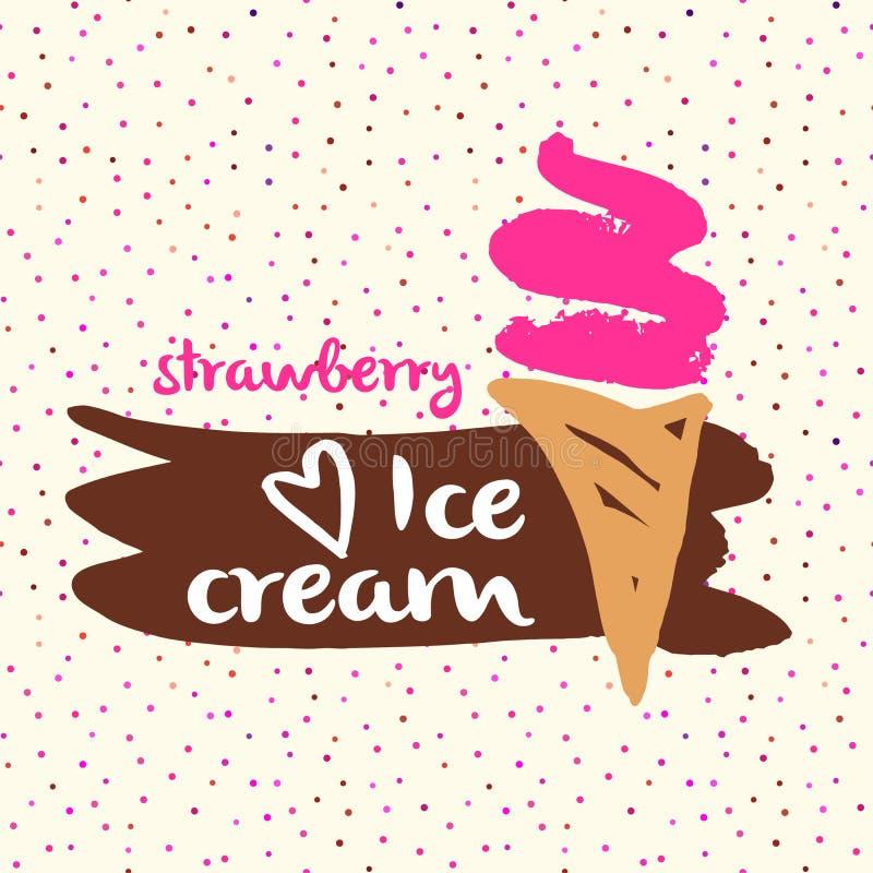 Vector el helado a mano de las imágenes de la historieta del elemento de la etiqueta ilustración del vector
