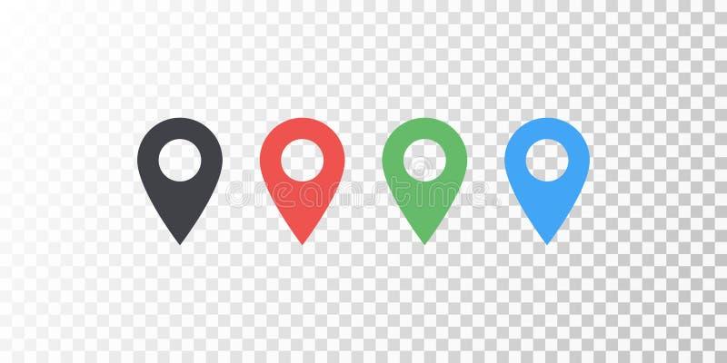 Vector el icono colorido de la ubicación del mapa aislado en fondo transparente con la sombra suave Elemento para el interfaz del libre illustration