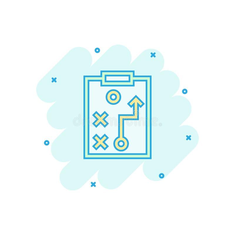 Vector el icono de documento del plan táctico de la historieta en estilo cómico Comienzo ilustración del vector