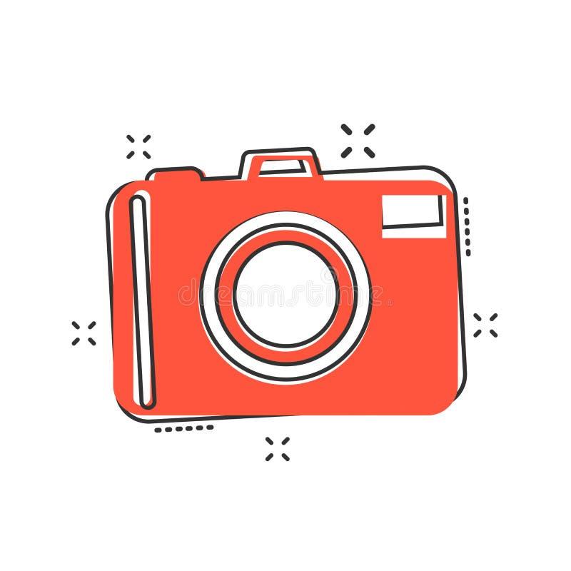 Vector el icono de la cámara de la foto de la historieta en estilo cómico Fotógrafo Ca stock de ilustración