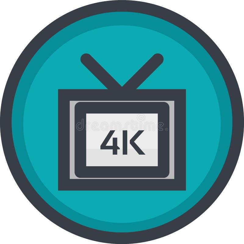 Vector el icono de la calidad de vídeo 4k en el botón en estilo plano con el esquema Pixel perfecto Icono del jugador y de las mu ilustración del vector