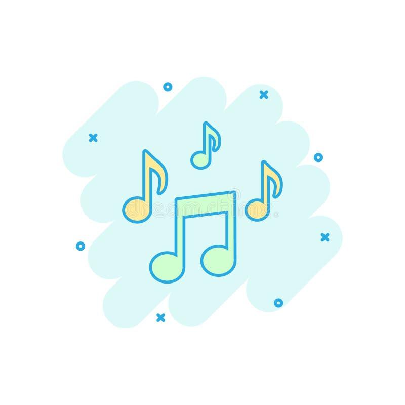 Vector el icono de la nota de la música de la historieta en estilo cómico Medios conce sano ilustración del vector