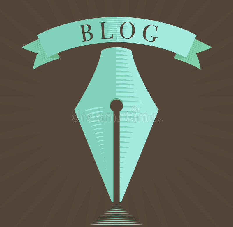 Vector el icono de la pluma, símbolo del blog en estilo grabado stock de ilustración