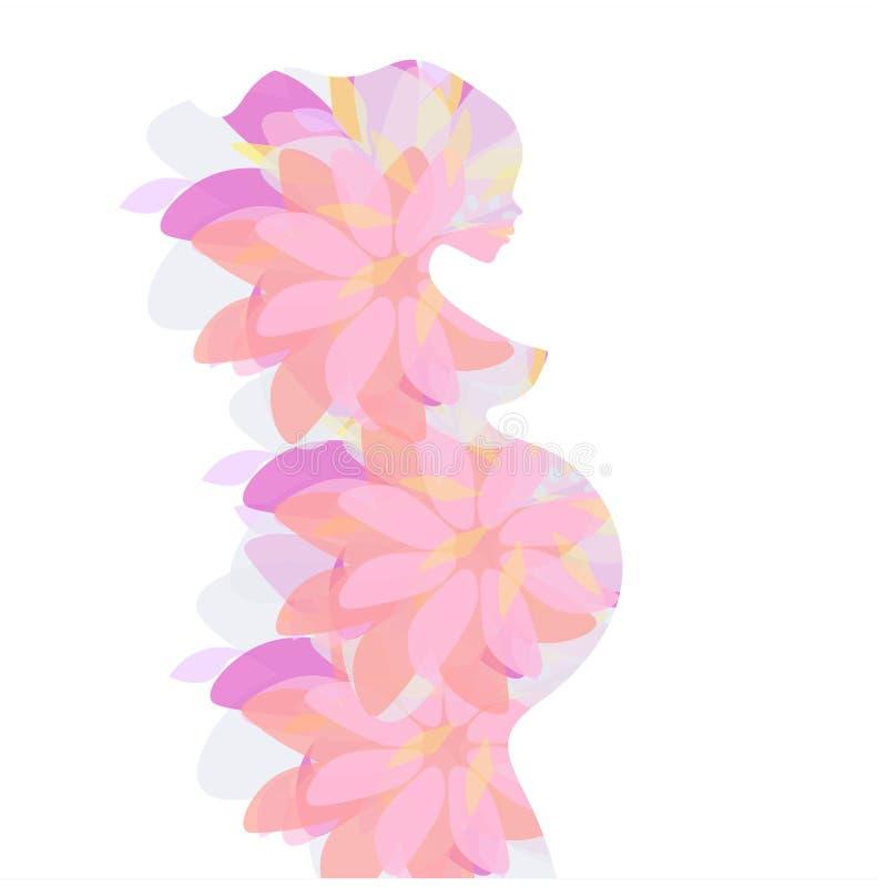 Vector el icono de la silueta embarazada de la señora del vientre de las mujeres del partido, símbolo estilizado, fondo abstracto ilustración del vector