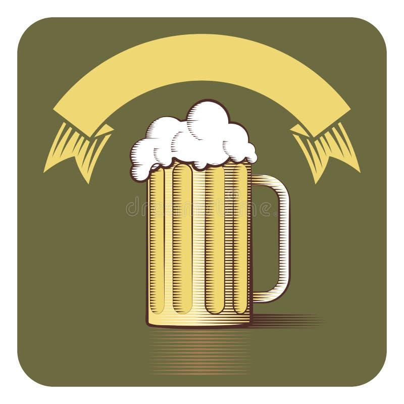 Vector el icono de la taza y de la cinta de cerveza con el copia-espacio en s grabado stock de ilustración