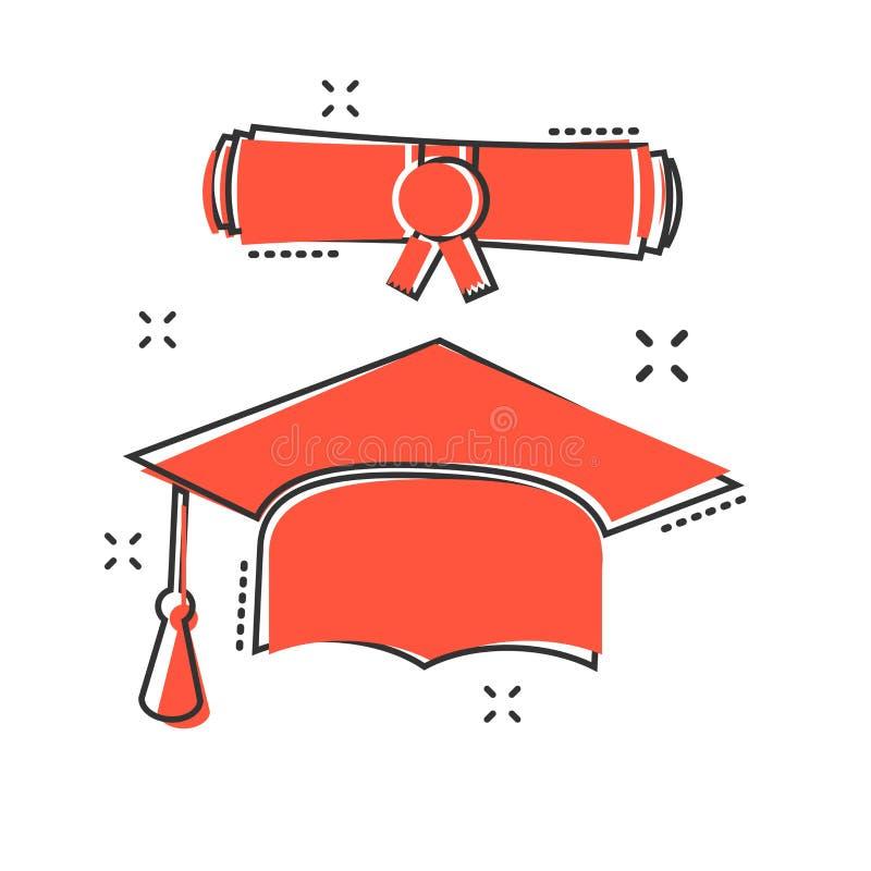 Vector el icono de la voluta del casquillo y del diploma de la graduación de la historieta en s cómico stock de ilustración