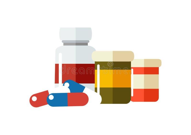 Vector el icono de las drogas, píldoras, botellas de la prescripción de la American National Standard de las cápsulas stock de ilustración