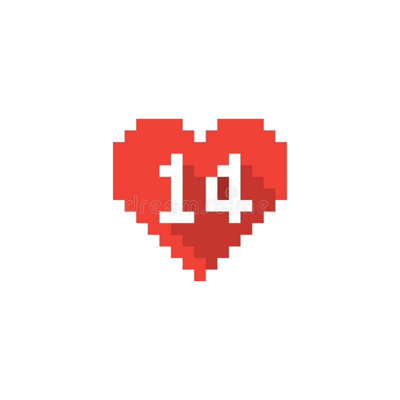 Vector el icono del corazón del día del ` s de la tarjeta del día de San Valentín del pixel con la sombra larga libre illustration