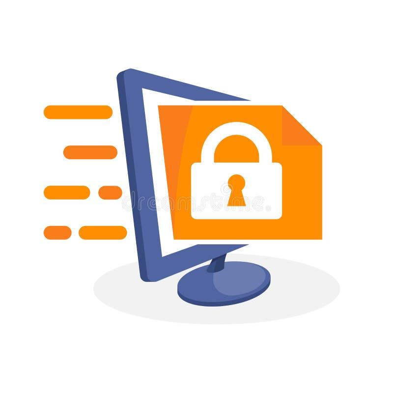 Vector el icono del ejemplo con medios concepto digital sobre el acceso al documento confidencial stock de ilustración