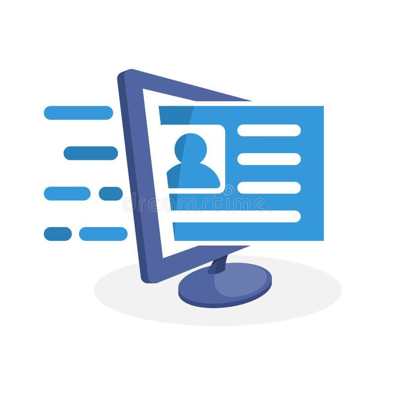 Vector el icono del ejemplo con medios concepto digital sobre el registro en línea stock de ilustración