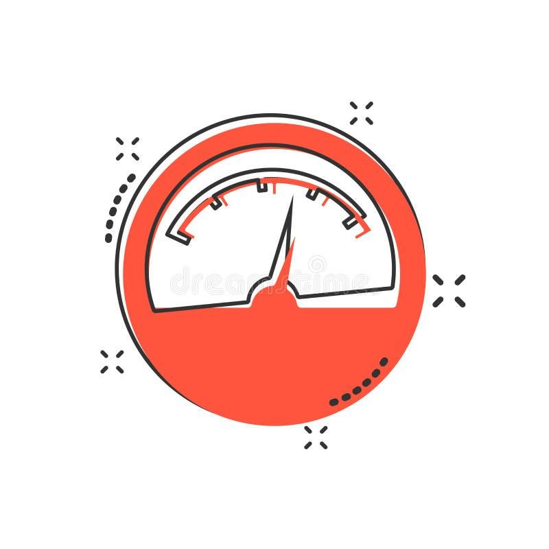 Vector el icono del metro eléctrico de la historieta en estilo cómico Metro de poder s stock de ilustración
